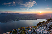 Sunset at Lake Traunsee seen from Mount Traunstein, Upper Austria, Austria, Europe