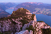 Sunrise at Mount Traunstein seen from Alpine hut Gmundner Hut, view to Traunstein hut and Lake Traunsee, Upper Austria, Austria, Europe