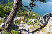 Hiker at Naturfreundesteig, hiking trail at Mount Traunstein, Upper Austria, Austria, Europe