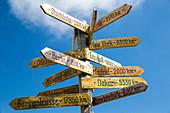 Signpost on Mount Schafberg, St. Wolfgang, Upper Austria, Austria, Europe