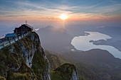 Sunset at Mount Schafberg, view to Lake Mondsee, St. Wolfgang, Upper Austria, Austria, Europe