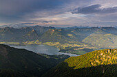 Lake Wolfgangsee, seen from Mount Schafberg, St. Wolfgang, Upper Austria, Austria, Europe