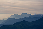 Totes Gebirge, seen from Mount Schafberg, St. Wolfgang, Upper Austria, Austria, Europe