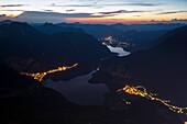 Sunset at Lake Hallstaettersee, senn from 5-Fingers-viewpoint, Mount Krippenstein, Upper Austria, Austria, Europe