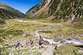 Hikers in the Sulzenautal, Wilde-Wasser-Weg, Stubaital, Tyrol, Austria, Europe