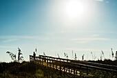 Mann auf einem Steg am Strand in einem Nationalpark im Gegenlicht, Boca Grande, Florida, USA
