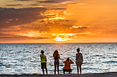 A family on the beach of the Gulf of Mexico taking a photograph of the sunset, Fort Myers Beach, Florida, USA