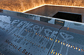 Engraved names of the victims of 9/11, World Trade Center Memorial, New York City, USA