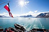 Liefdefjorden, left glacier Monacobreen, right glacier Seligerbreen  Spitzbergen, Svalbard