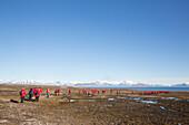 People hiking at Worsleyhamna, Liefdefjorden Spitzbergen, Svalbard