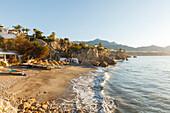 Playa de la Calahonda, beach below Balcon de Europa, viewpoint to the Mediterranean Sea, Nerja, Costa del Sol, Malaga province, Andalucia, Spain, Europe