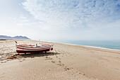 fishing boat on the beach, San Miguel de Cabo de Gata, Parque Natural Cabo de Gata-Nijar, natural park, UNESCO Biosphere Reserve, Mediterranean Sea, Almeria province, Andalucia, Spain, Europe