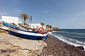 fishing boat on the beach, La Isleta del Moro, Cabo de Gata, Mediterranean Sea, Parque Natural Cabo de Gata-Nijar, natural park, UNESCO Biosphere Reserve, Almeria province, Andalucia, Spain, Europe