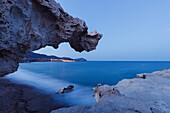Rock formations along the coast, erosion, Los Escullos, Cabo de Gata, Mediterranean Sea, Parque Natural Cabo de Gata-Nijar, natural park, UNESCO Biosphere Reserve, Almeria province, Andalucia, Spain, Europe
