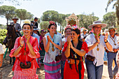 pilgrims during the El Rocio pilgrimage, Pentecost festivity, Huelva province, Sevilla province, Andalucia, Spain, Europe