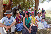 Pilgrims having a rest, El Rocio, pilgrimage, Pentecost festivity, Huelva province, Sevilla province, Andalucia, Spain, Europe