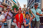 return to Sevilla, El Rocio, pilgrimage, Pentecost festivity, Huelva province, Sevilla province, Andalucia, Spain, Europe