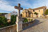 stone cross near the Iglesia del Carmen church, Alhama de Granada, Granada province, Andalucia, Spain, Europe