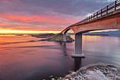 Morning light over bridge Storseisundet on the Atlantic Ocean Road between Molde and Kristiansund, near Vevang, More og Romsdal, Western Norway, Norway, Scandinavia, Northern Europe, Europe