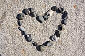 heart symbol formed from flintstones of the Baltic Sea, Rügen, Mecklenburg-Western Pomerania, Germany, Europe