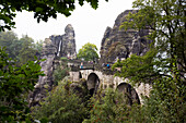 Rock formation Bastei, Bastei bridge, Saxon Switzerland National Park, Elbe Sandstone Mountains, Saxony, Germany, Europe