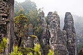 Rock formation Bastei, Saxon Switzerland National Park, Elbe Sandstone Mountains, Saxony, Germany, Europe