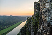 Rock formation Bastei, Bastei bridge, view on Elbe river, Rathen, Saxon Switzerland National Park, Elbe Sandstone Mountains, Saxony, Germany, Europe