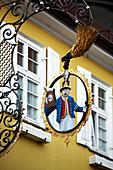 House sign of Restaurant/Hotel Post, Nesselwang, Eastern Allgaeu, Allgaeu, Swabia, Bavaria, Germany