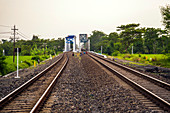 Railway Tracks In A Rural Scene At Java, Indonesia