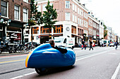 Velomobile in the trendy De Pijp Neighbourhood, Amsterdam, Netherlands, Europe