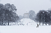 Sledging during Snow Fall at Monopteros, English Garden, Munich, Germany