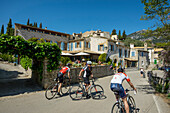 Cyclists, village of Orient in Serra de Tramuntana, mountain range, Majorca, Mallorca, Balearic Islands, Spain