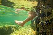 Close-up Of Person Leg Underwater