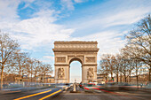 Arc de Triomphe and Champes Elysee Avenue in Paris city,  Paris, Île-de-France, France, Europe