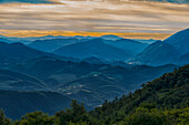 Italy, Umbria, Mt Catria, Sunset over Umbrian Apennines in Summer