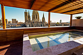 Barcelona, Catalonia, Spain, Southern Europe,  Outdoor swimming pool in front of the old Cathedral of the Holy Cross and Saint Eulalia