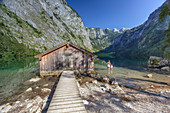 Europe, Germany, Bavaria, Berchtesgaden,  Boat dock hangar on Obersee alpine lake in the Alps