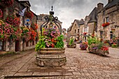 'A visit during the summer season you can enjoy the beautiful blooms of geraniums that adorn this quiet medieval village, Rochefort-en-terre, Brittany, Morbihan department, France, It is one of the villages included in the list of ''Villes et villages fle