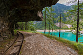 Trail with rails around Lago Campliccioli, Valle Antrona, Piedmont, Italy