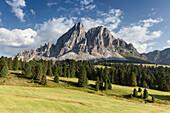 Europa, Italien, Südtirol, Bozen, Sass de Putia, Peitlerkofel, von Passo delle Erbe, Dolomiten aus gesehen