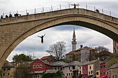 The famous jump in the Naretva river from the Stari Most , Old Bridge, Eastern Europe, Mostar, Bosnia and Herzegovina