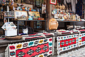 Souvenirs in the town market of Mostar, Bosnia and Herzegovina, Eastern Europe, Bosnia and Herzegovina