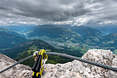 Lienz Dolomites, East Tyrol, Austria, View from the via ferrata Panorama to the city of lienz