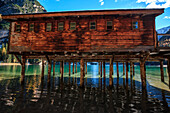 The chalet on the braies lake, Trentino alto Adige, Dolomites, Fanes-Sennes-Braies, Italy