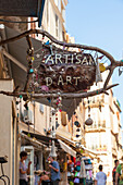 Handicraft shop in the typical medieval alleys of the old town Bonifacio Corsica France Europe