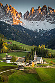 Val di Funes, Trentino Alto Adige, Italy, Santa Magdalena village and Odle mountain during sunset
