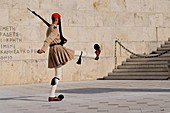 At the head of the Syntagma Square is the Greek Parliament Building with the Tomb of the Unknown Soldier in front of it The parliament building was originally built as a palace by Prince Otto of Bavaria in 1832, but since 1935 the palace has been the home