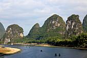 China, Guangxi, Yangshuo, Li River, karst landscape, limestone hills