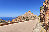 Small road in the Calanche, west coast between Porto and Piana, West Corsica, Corsica, Southern France, France, Southern Europe, Europe