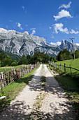 path leading to the mountains, Theth, Albanian alps, Albania